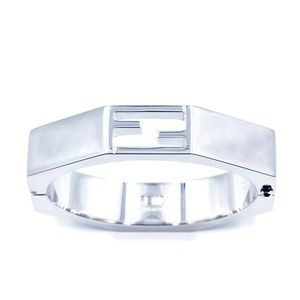 Fendi Jewelry - Fendi FF Logo Geometric Heavy Metallic Cuff Bangle